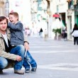 Royalty-Free Stock Photo: Father and son in city