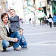 Father and son outdoors in city — Stock Photo #5621378