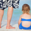 Father and daughter at beach - Stock Photo