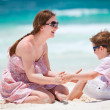 Mother and son at beach — Stock Photo
