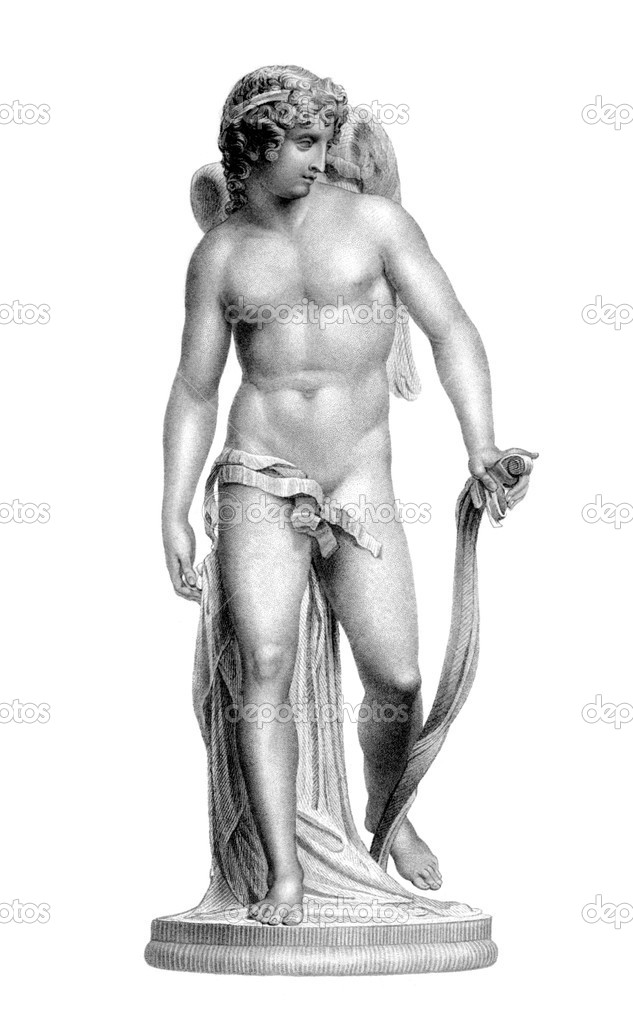 Statue of Cupid on engraving from the 1800s. Roman God of desire, affection and erotic love, that was a copy of Greek God Eros. Engraved by J.Thomson from a sta — Stock Photo #5597157
