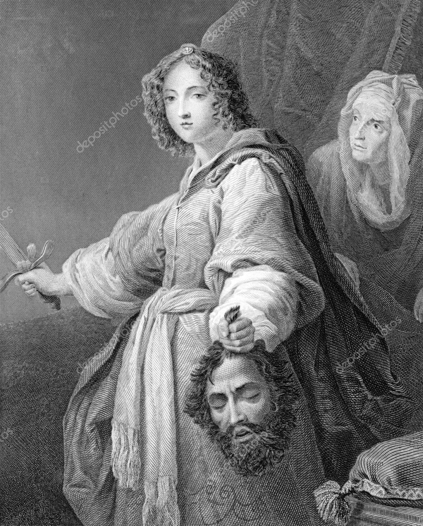 Judith with the Head of Holofernes on engraving from 1846. Engraved by J.Carter after a painting by Allori. — Stock Photo #5598813