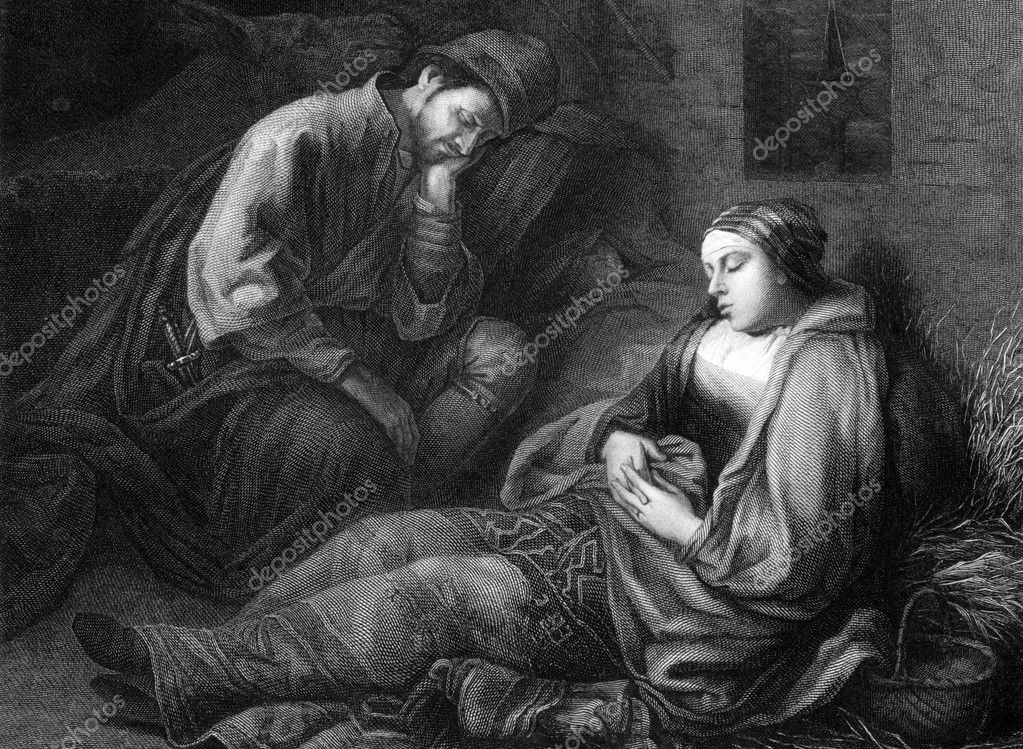 Weary travelers on engraving from 1875. Engraved by Mauduit after a painting by Rembrandt. — Stock Photo #5600074