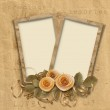 Vintage background with frames and roses — Stock Photo #5864447