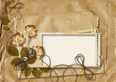 Retro card with rose on torn paper background — Stock Photo