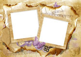 Vintage card with frame and butterfly — Stok fotoğraf