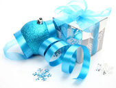 Gifts and New Year's ornaments — Stock Photo