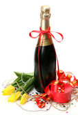 Champagne and flowers — Stockfoto
