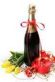 Champagne och blommor — Stockfoto