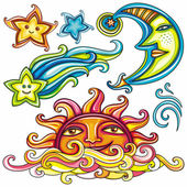 Celestial symbols: sun, moon, star, comet — Stock Vector