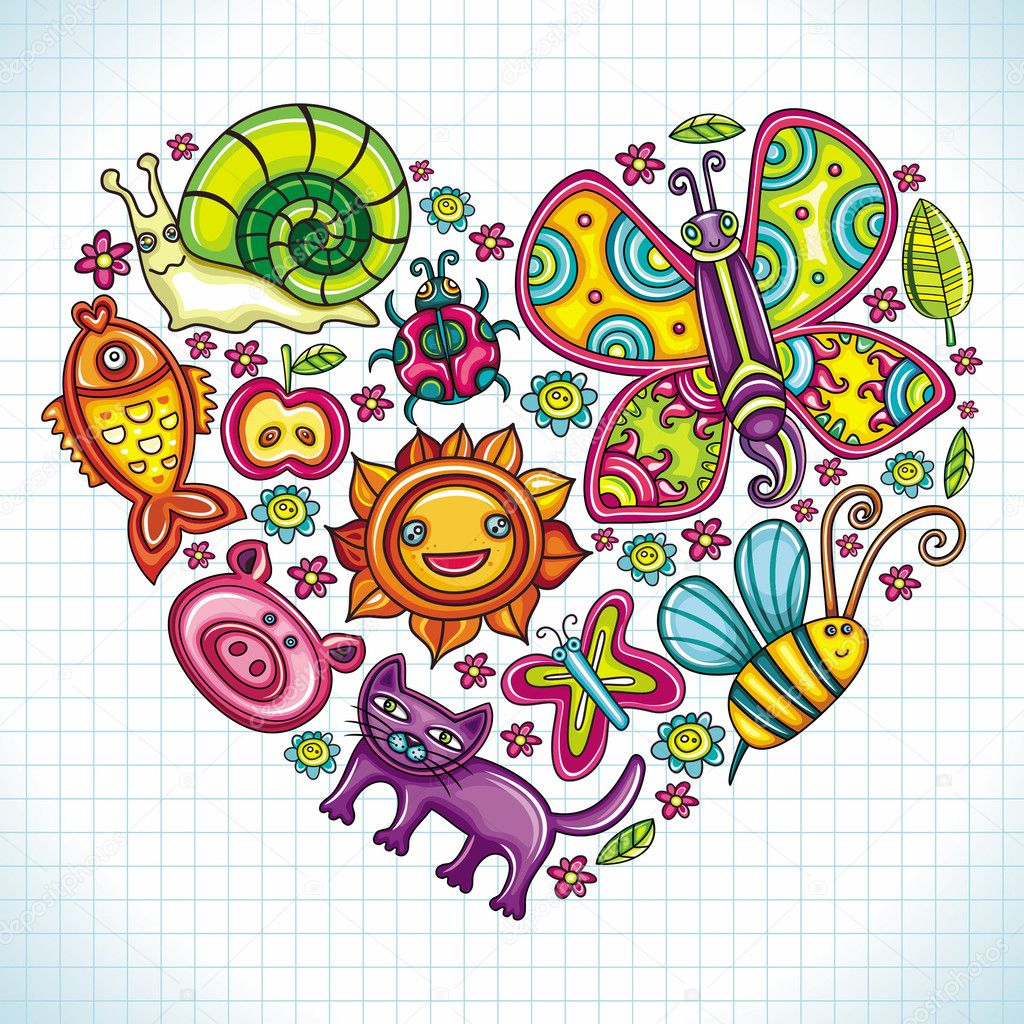 Flora and fauna theme heart. Cartoon set of colorful icons of animals, birds and plants. Doodle collection contains: leafs, , pigeon, bumblebee,  — ベクター素材ストック #5477652