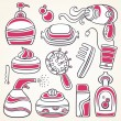Health, beauty and fashion supplies icons - Image vectorielle