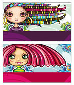 Fashion girls cards series — Stock Vector