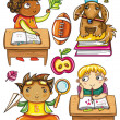 Royalty-Free Stock Vector Image: Group of cute, little schoolchildren.
