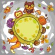 Autumn round planet with cute animals — 图库矢量图片