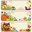 Vector set of decorative autumnal banners.1 — Stock Vector