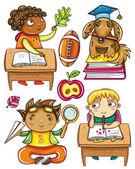 Group of cute, little schoolchildren. — Stock Vector
