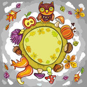 Autumn round planet with cute animals — Stock Vector