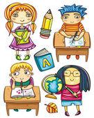 Group of schoolchildren 1 — Stock Vector