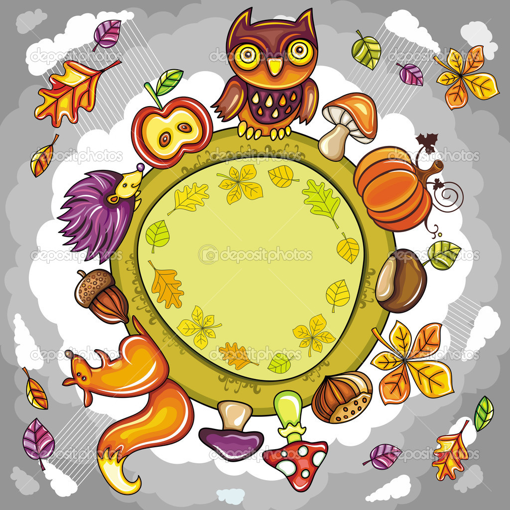 Autumn round planet with cute animals, leaves, mushrooms and other autumnal design elements. you can place your text inside of the round frame.  — Stock Vector #6478585
