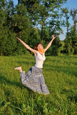 Girl jumping outdoors — Stock Photo