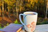 Drinking tea outdoors — Stock Photo