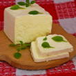 Still life of brynza cheese and basil — Stock Photo