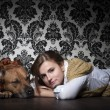 Stock Photo: Girl with AmericStaffordshire Terrier