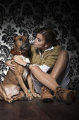 Girl with American Staffordshire Terrier — Stock Photo
