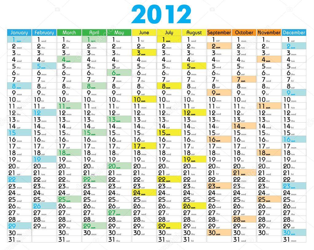 Calendar 2012 — Stock Vector © artcasta #5807723