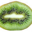 Kiwi slice macro isolated on white — Stock Photo