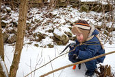 Small boy with ice axe — Foto Stock