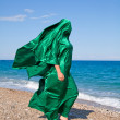 Girl silhouette under green tissue on sebeach — Stock fotografie #5591922
