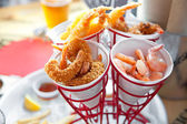 Set of shrimps, boiled, grilled, fried — Stock Photo