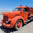 Red vintage firefigther's truck — Stock Photo