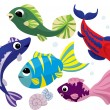 Bright colored cartoon fishes set — Stok Vektör