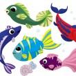 zářivě barevné karikatura ryby sada — Stock vektor