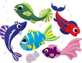 Bright colored cartoon fishes set — Stock Vector