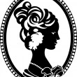 Vignette retro medallion with female profile - Stock Vector