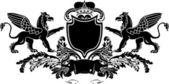 Heraldic Double Griffin Shield Crest — Stock Vector