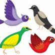 Set of bright cartoon birds - Stock Vector