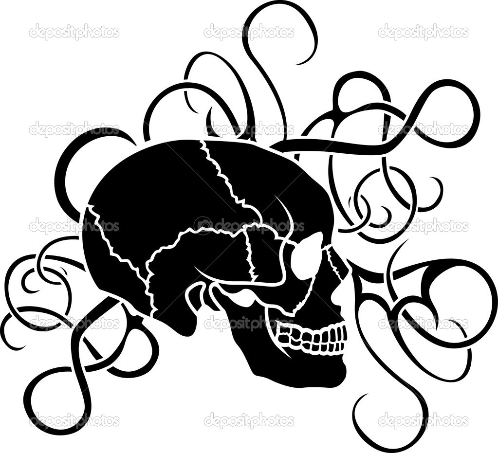 Skull stencil tattoo with