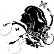 Female profile with flowers - Imagen vectorial