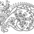 Filigree flower border. stencil — Vettoriali Stock