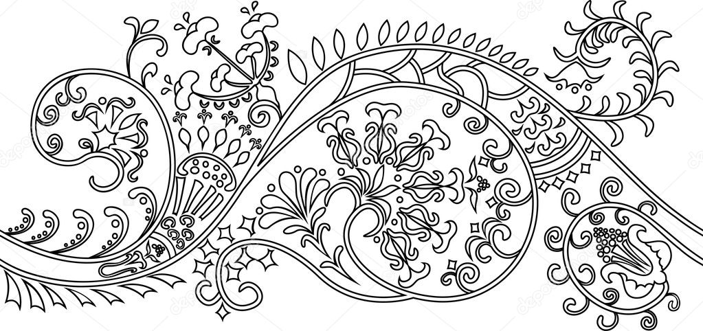 Filigree flower border. stencil vector illustration for web — Stock Vector #5604918