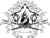 Drache-schild mit schwertern — Stockvektor