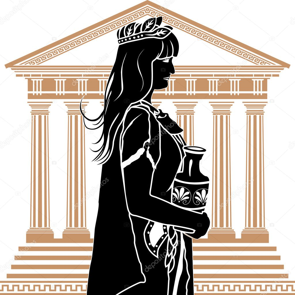 Roman patrician woman with temple on background stencil — Stock Vector #6270319