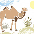 Camel in desert stencil — Stock Vector
