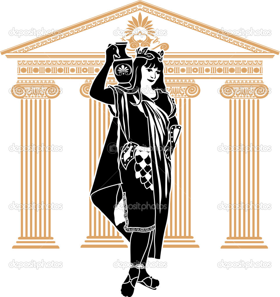 Roman patrician woman second variant stencil with temple on background — Stock Vector #6333720