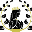 Laurel wreath with patrician romane woman profile — Stock Vector #6678435